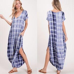 EMMA Tie Dye Maxi Dress - NAVY